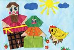 Курочка Татарушка, оригами. Настя Карманова, Большекандалинская школа, 1 класс